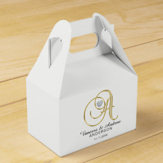 Personalized Topography Gold Monogram Letter 'A' Favour Box