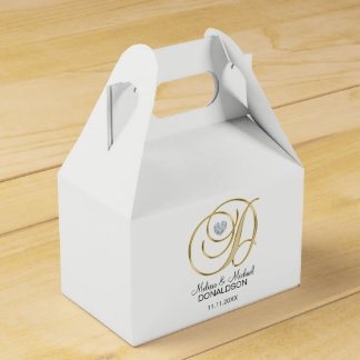 Personalized Topography Gold Monogram Letter 'D' Favour Box