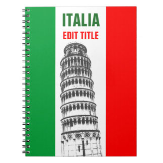 Personalized Tower of Pisa and Italian Flag Notebook