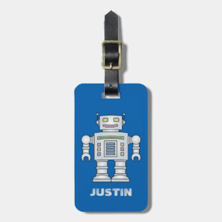 Personalized toy robot travel luggage tag for boy