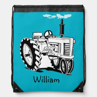 Personalized Tractor Drawstring Bag
