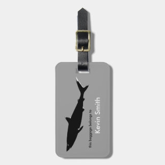 personalized travel black shark luggage tag