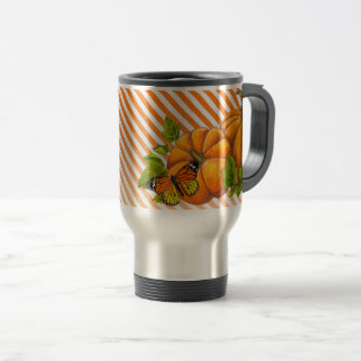 Personalized Travel Mug with Pumpkins and Stripes