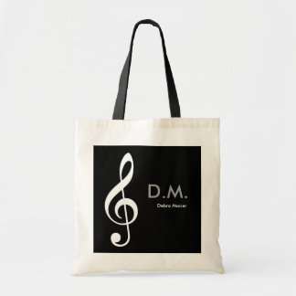 personalized treble clef music idea tote bag