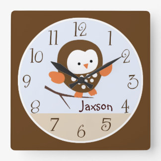 "Personalized ""Tree Tops Owl/Forest Friends"" Clock"