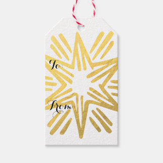 Personalized Trendy Gold Foil Star Festive Holiday