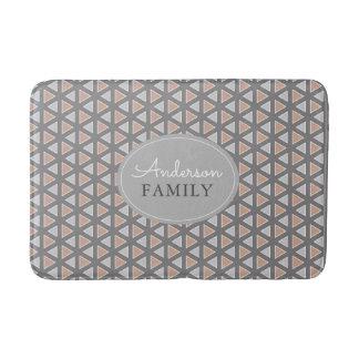 Personalized Trendy Gray & Tan Geometric Pattern Bath Mat