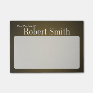 Personalized Trendy Tan and Black Grainy Post-it Notes