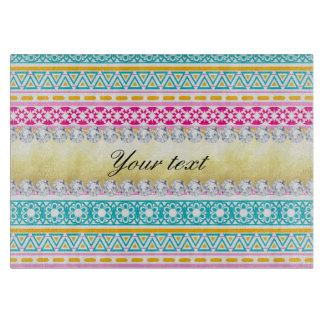 Personalized Tribal Pattern and Diamonds Cutting Board