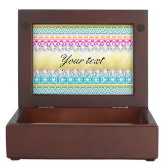 Personalized Tribal Pattern and Diamonds Keepsake Box