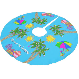 Personalized Tropical Beach Christmas Tree Skirt