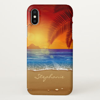 Personalized Tropical Beach Sunset iPhone X Case