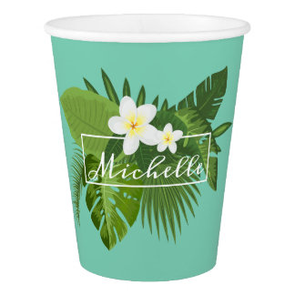 Personalized Tropical Floral Frame | Paper Cup