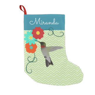 Personalized Tropical Floral Hummingbird Small Christmas Stocking
