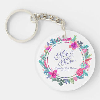 Personalized Tropical Floral Wedding Keychain