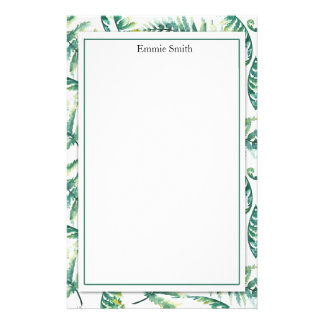 Personalized Tropical Green Leaves on White Stationery