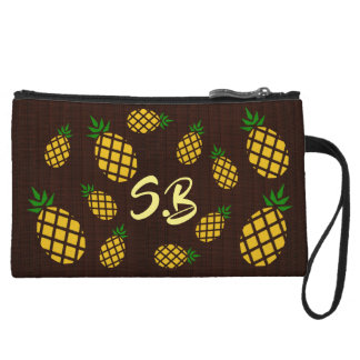 (Personalized) Tropical Hawaiian Pineapple Stencil Wristlet
