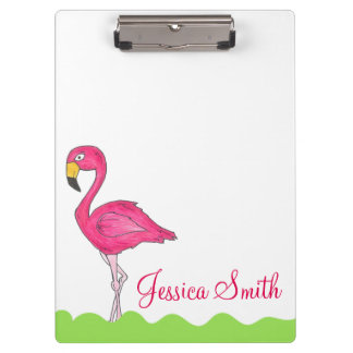 Personalized Tropical Pink Flamingo Bird Clipboard