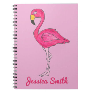 Personalized Tropical Pink Flamingo Bird Notebook
