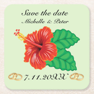 """Personalized Tropical Wedding """"Save The Date"""" Square Paper Coaster"""