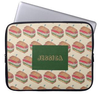 Personalized Turkey Club Sandwich Foodie Food Gift Laptop Sleeve