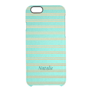 Personalized Turquoise and Gold Shimmer Stripes Clear iPhone 6/6S Case