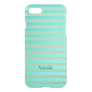 Personalized Turquoise and Gold Shimmer Stripes iPhone 7 Case