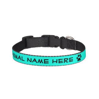 Personalized Turquoise Black Pawprint Pet Collar