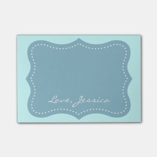 Personalized turquoise blue bracket Post-it® notes