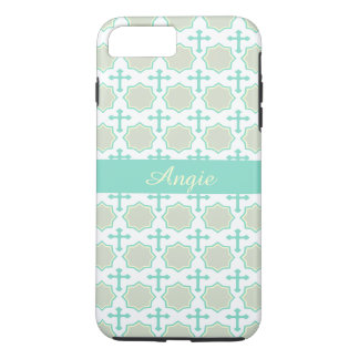 Personalized Turquoise Octagons & Crosses Pattern iPhone 7 Plus Case
