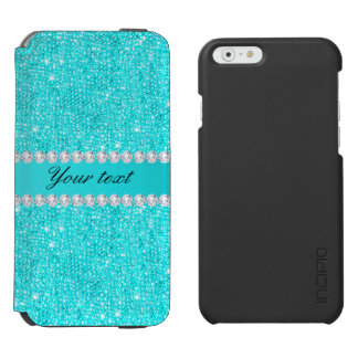 Personalized Turquoise Sequins and Diamonds Incipio Watson™ iPhone 6 Wallet Case