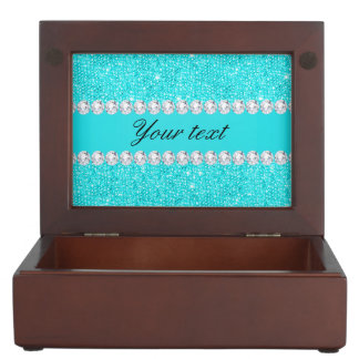 Personalized Turquoise Sequins and Diamonds Keepsake Box