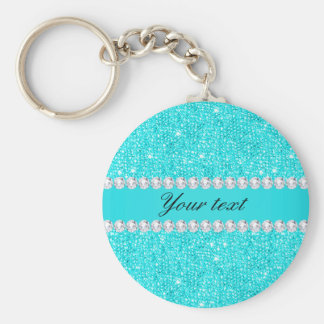 Personalized Turquoise Sequins and Diamonds Key Ring