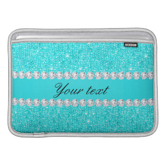 Personalized Turquoise Sequins and Diamonds MacBook Sleeve