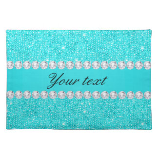 Personalized Turquoise Sequins and Diamonds Placemat