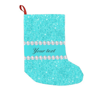 Personalized Turquoise Sequins and Diamonds Small Christmas Stocking