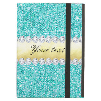 Personalized Turquoise Sequins Gold Diamonds Case For iPad Air