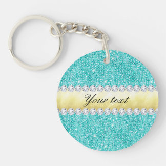 Personalized Turquoise Sequins Gold Diamonds Double-Sided Round Acrylic Key Ring