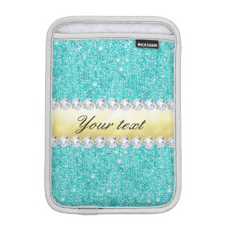 Personalized Turquoise Sequins Gold Diamonds iPad Mini Sleeve