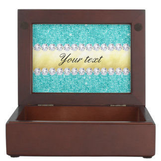 Personalized Turquoise Sequins Gold Diamonds Keepsake Box