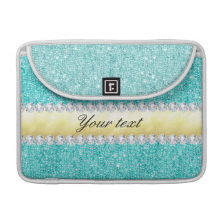 Personalized Turquoise Sequins Gold Diamonds Sleeve For MacBooks