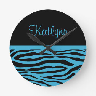 Personalized Turquoise Zebra Stripe Wall Clock