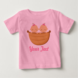 Personalized Twin Girls in a boat Baby T-Shirt