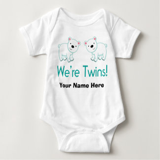 Personalized Twins Polar Bears Baby Bodysuit