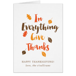 Personalized Typographic Autumn Leaves Card