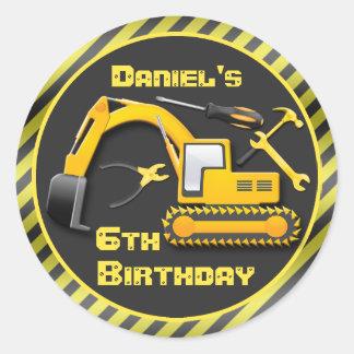 Personalized Under Construction Birthday Party Round Sticker