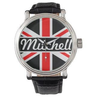 Personalized Union Jack Black Watch