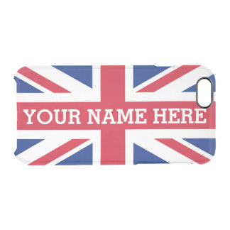 Personalized Union Jack Flag Clear iPhone 6/6S Case
