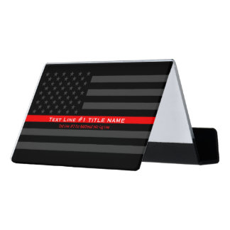 Personalized US Thin Red Line 2 Lines of Text Desk Business Card Holder