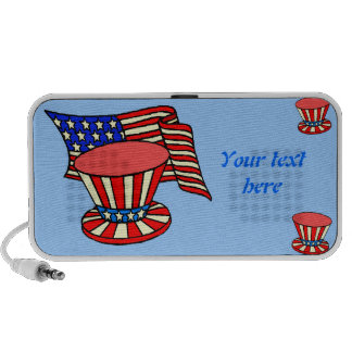 personalized USA flag, patriotic hat, text speaker
